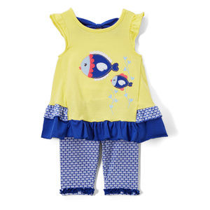 NWT Nannette Fish Baby Girls Ruffle Tunic Outfit